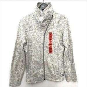 Full Zip Jacket Mock Neck Fleece Grey NWOT